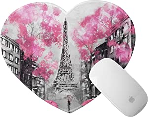 Mini Mouse Pad with Stitched Edge Heart Shape Mouse Mat Art Paris Street Eiffel Tower Pink Floral Non-Slip Rubber Base Mousepad for Laptop Computer & Pc Office Home 8x9.4 in
