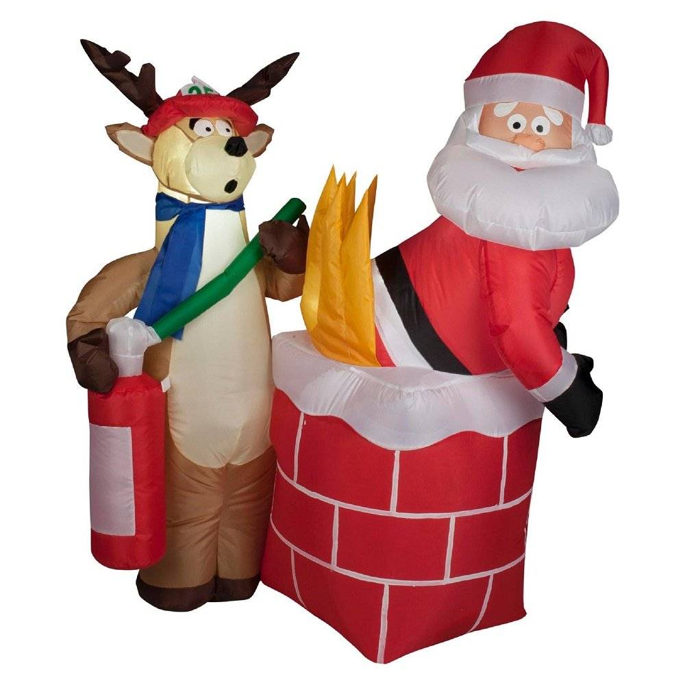 Gemmy Inflatable Holiday G08 87191 Air Blown Santa on Fire Scene Decor