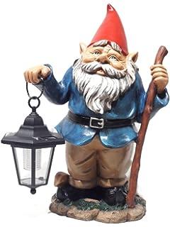 HomeView Design Gnome Holding Solar Lantern Garden Statue