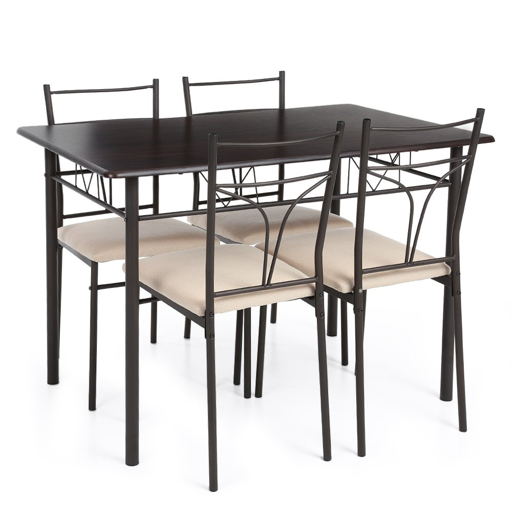 ikayaa 5pcs table and chairs set 4 person metal kitchen dinning table - Table And Chair Sets Kitchen