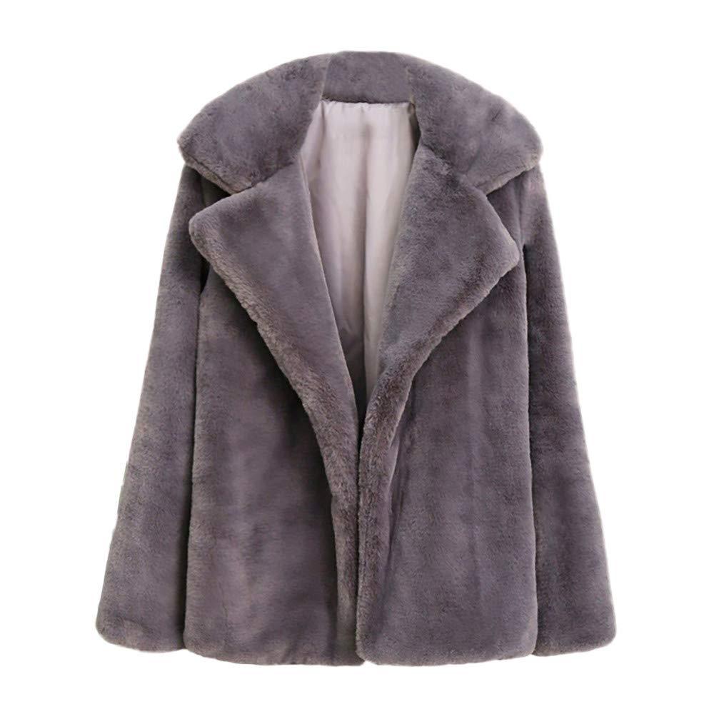 Abrigo de Piel de Color Liso para Mujer, SunGren Abrigo Grueso de Invierno cálido Chaqueta de Las señoras Outercoat Tops de Abrigo de Cardigan: Amazon.es: ...