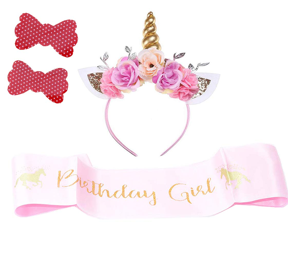 Girls Gold Unicorn Headband,& Pink Silk Unicorn Birthday Sash,Unicorn Party Supplies for Kids Adults 3