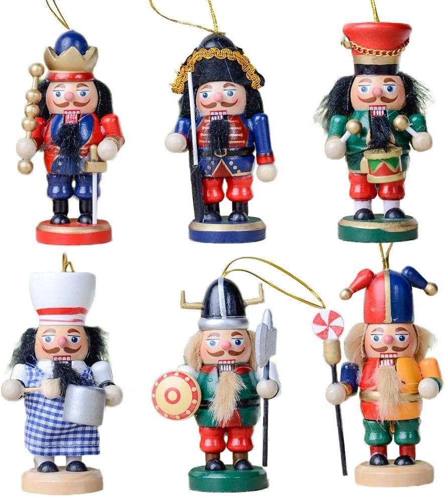 6 piezas de Navidad soldado muñeca colgante 10CM, Navidad Cascanueces títeres pequeños adornos de madera títeres soldados regalos de fiesta artesanías de madera para la oficina de casa cualquier