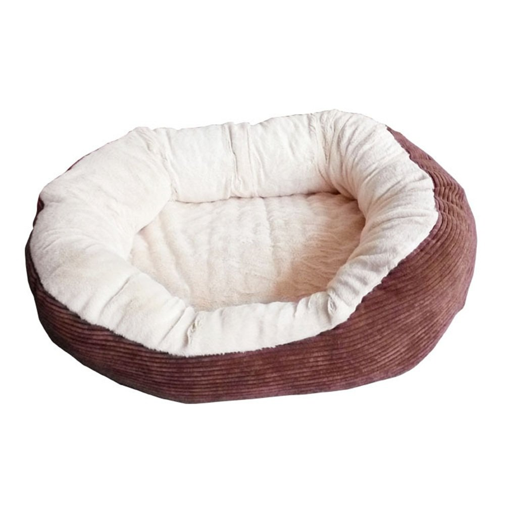 Brown Liuxiaoqing Pet Bed for Cats Small Dogs Pet Nest Soft And Warm Rectangular Kennel PP Cotton Autumn And Winter Pet Cotton Nest Soft Comfy Washable (color   Brown)