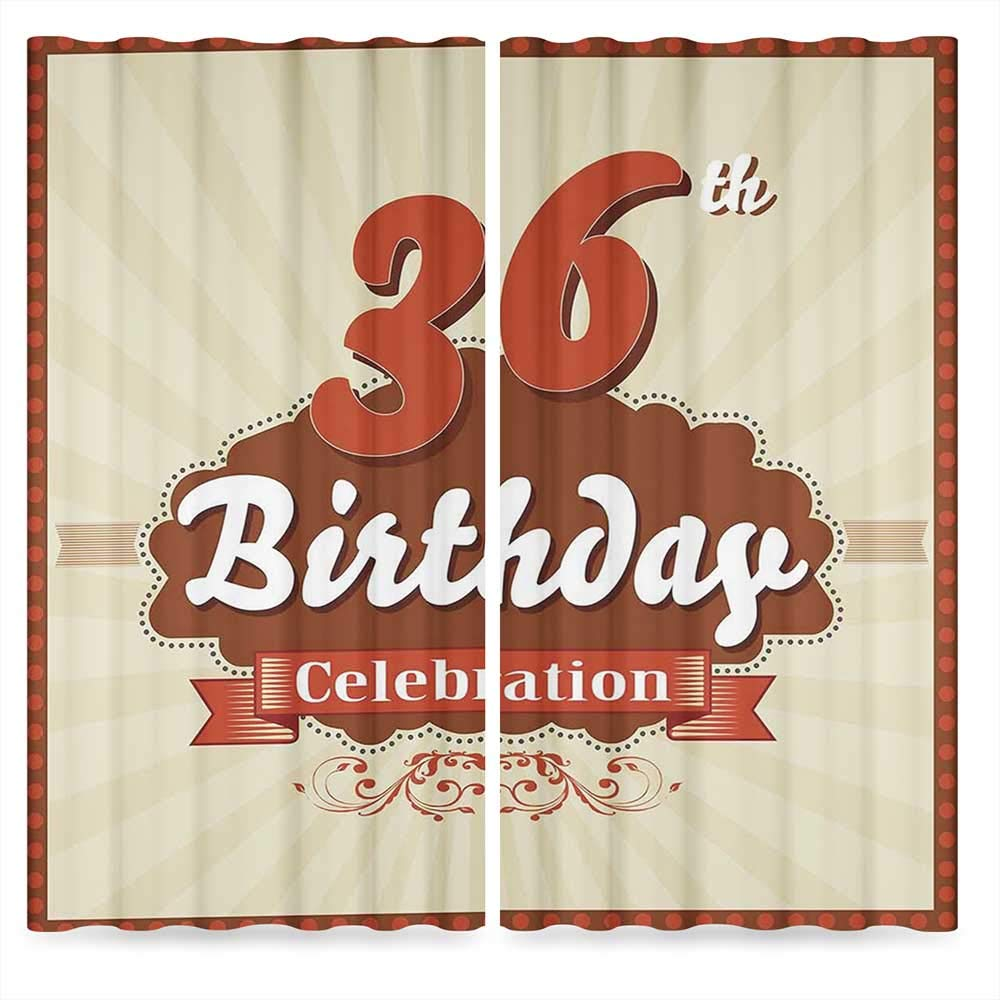 36th Birthday Decorations Door Curtain,Birthday Celebration Invite Chocolate Wrap Like Image,for Living Room, 2 Panel Set, 28W X 39L Inches