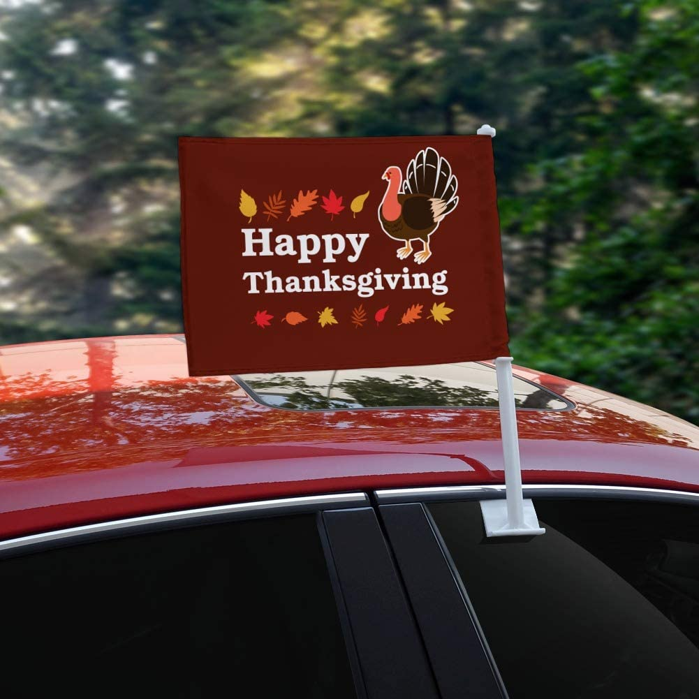 GRAPHICS /& MORE Happy Thanksgiving Turkey Car Truck Flag with Window Clip On Pole Holder