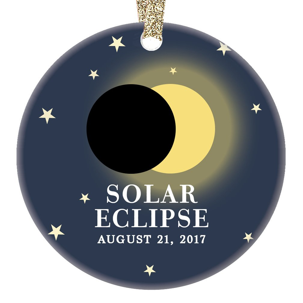 Solar Eclipse Ornament August 21 2017 North America Total Partial Sun Moon Totality Christmas Tree Gift Idea 3'' Flat Circle Porcelain Ceramic Ornament Keepsake Present Gold Ribbon & Gift Box OR00322
