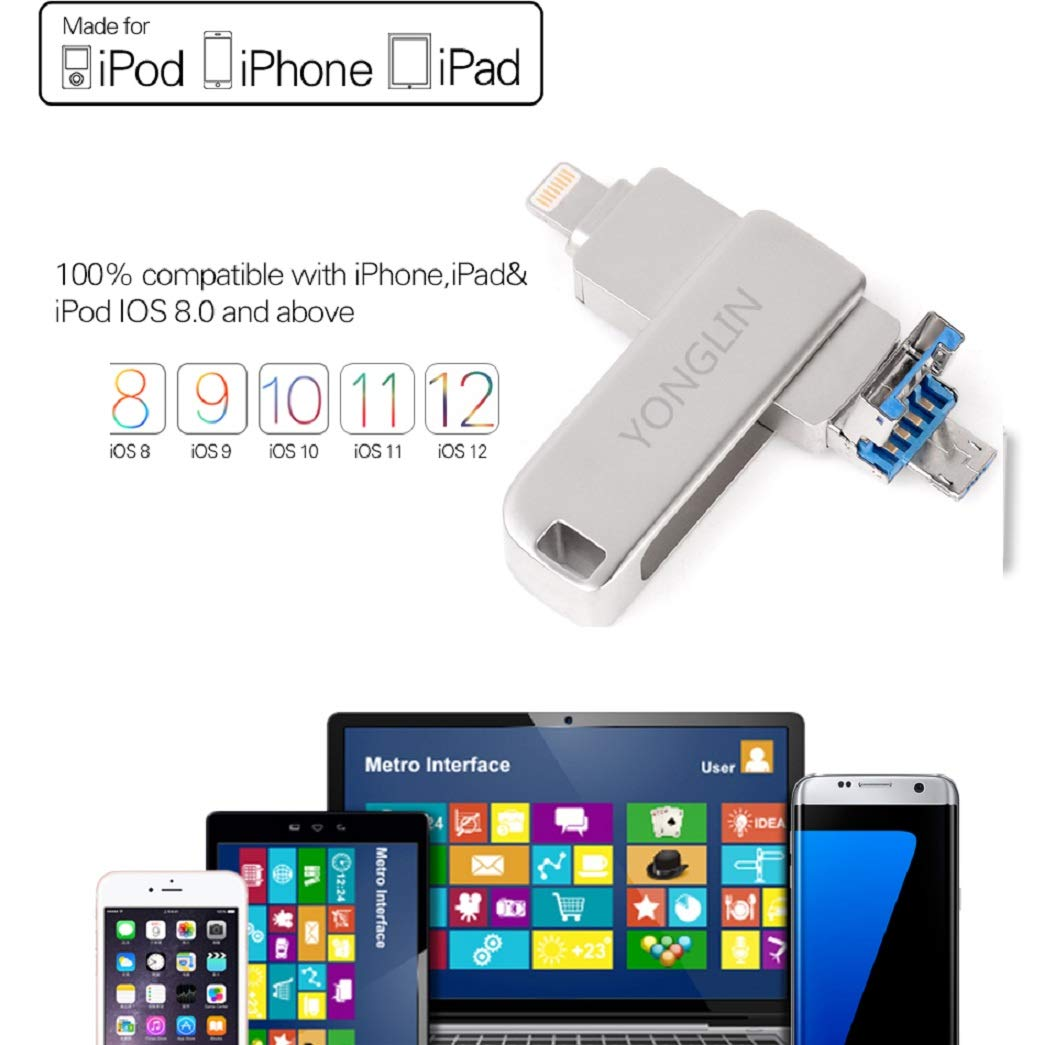 iPhone Flash Drive 128GB,Thumb Drive 3 in 1 External Storage Memory Stick Yonglin External Storage Memory Stick,for iPhone X XR XS MAX, iPhone 6, iPhone 6 Plus, iPhone 8 Plus & iPad