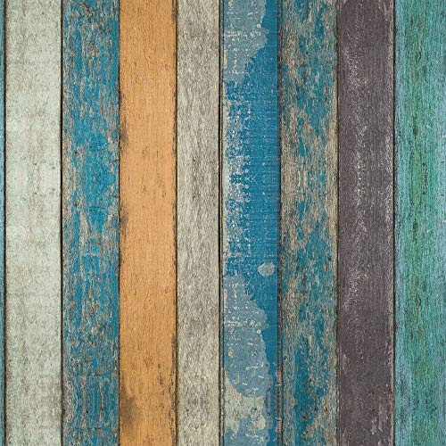 Vintage Faux Wood Panel Wallpaper Peel and Stick PVC Removable, Blue Wood Plank Grain Wall Mural, 32.8 Ft X 17.9 inch (Removable Panel)