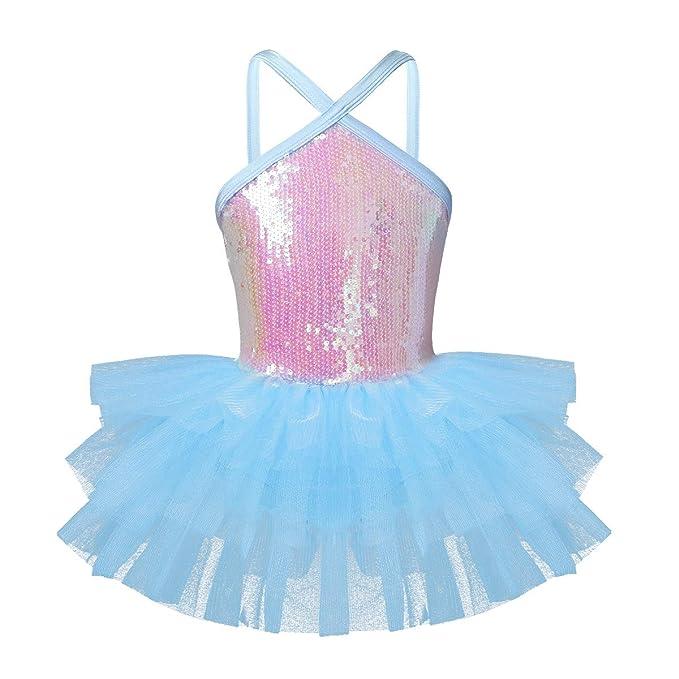 IEFIEL Vestido Tul con Lentejuelas Vetsido de Princesa para Niña Maillot tutú de Danza Ballet para Gimnasia Actuación Fiesta