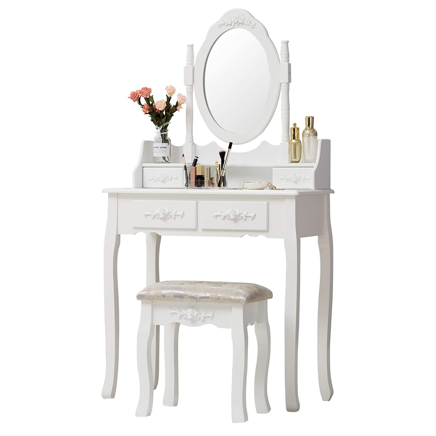 Vanity Table Sets, Unihome Makeup Table with Oval Mirror Dressing Table Cushioned Stool 5 Drawers Wooden Makeup Desk Vanity White Small Vanity Makeup Table Set for Women