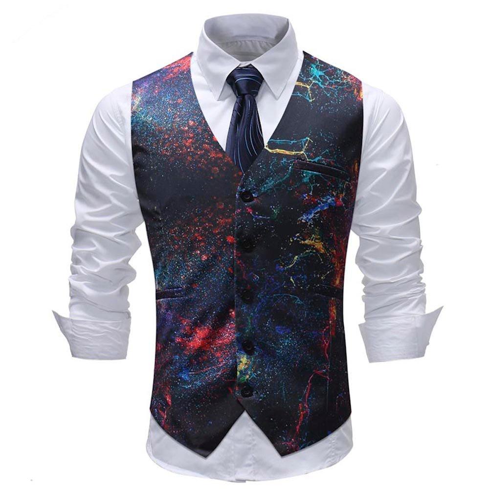 Gilet Testurizzato Slim Elegante Uomo Casual Moda Corpetto Smoking Waistcoat Cerimonia Matrimonio Giacca Blazer