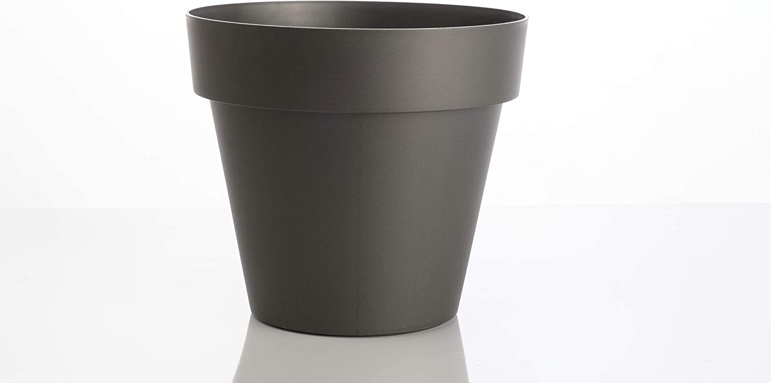 "Alfresco Home 600-2854-62 15.75"" Resin MITU Pac Outdoor Planter with drainhole in Anthracite Grey Pottery"