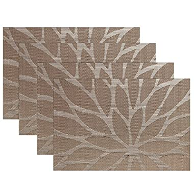 SiCoHome Placemats Dining Room Placemats for Table Heat Insulation Stain-resistant Woven Vinyl Kitchen Placemats,Set of 4(Lotus Leaf Brown)