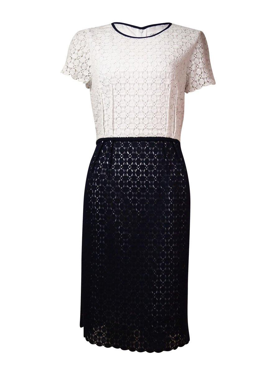 Calvin Klein Women's Eyelet Sheath Dress, White/Twilight, 6