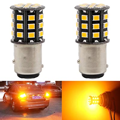 Alopee 2-Pack 1157 BAY15D 1016 1034 7528 2057 2357 Car Turn Signal Lights - 12V-24V Extremely Bright Amber/Yellow 2835 33 SMD LED Light Bulb - Replacement for Tail Blinker LED Bulb: Automotive