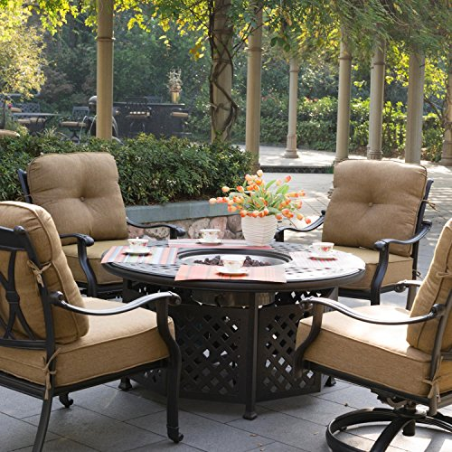 4 person cast aluminum seating patio set with