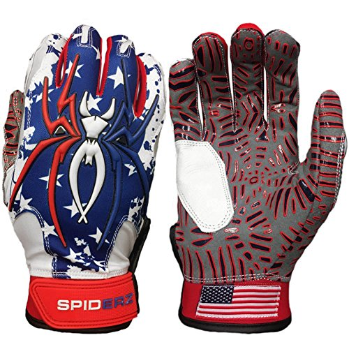 Spiderz USA Flag w/New Web Tac Grip Hybrid Baseball/Softball Batting Gloves w/Spider Web Grip and Protective Top Hand in Adult &Youth Sizes - Professional (PRO) Quality (Adult Large)
