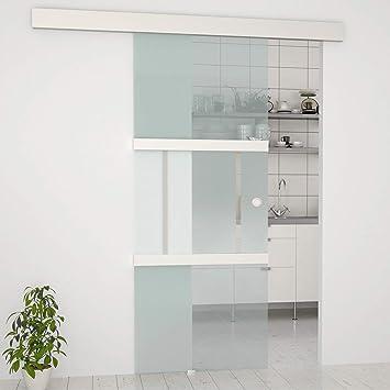 Glasschiebetür (77,5 x 205 cm) | Komplettset mit Laufschiene mit ...