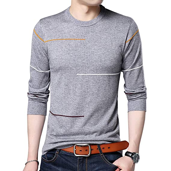 1d94d00efdd Allthemen Pull Homme Sweater Uni Pull-Over Tricot Slim fit d automne  d hiver Laine  Amazon.fr  Vêtements et accessoires