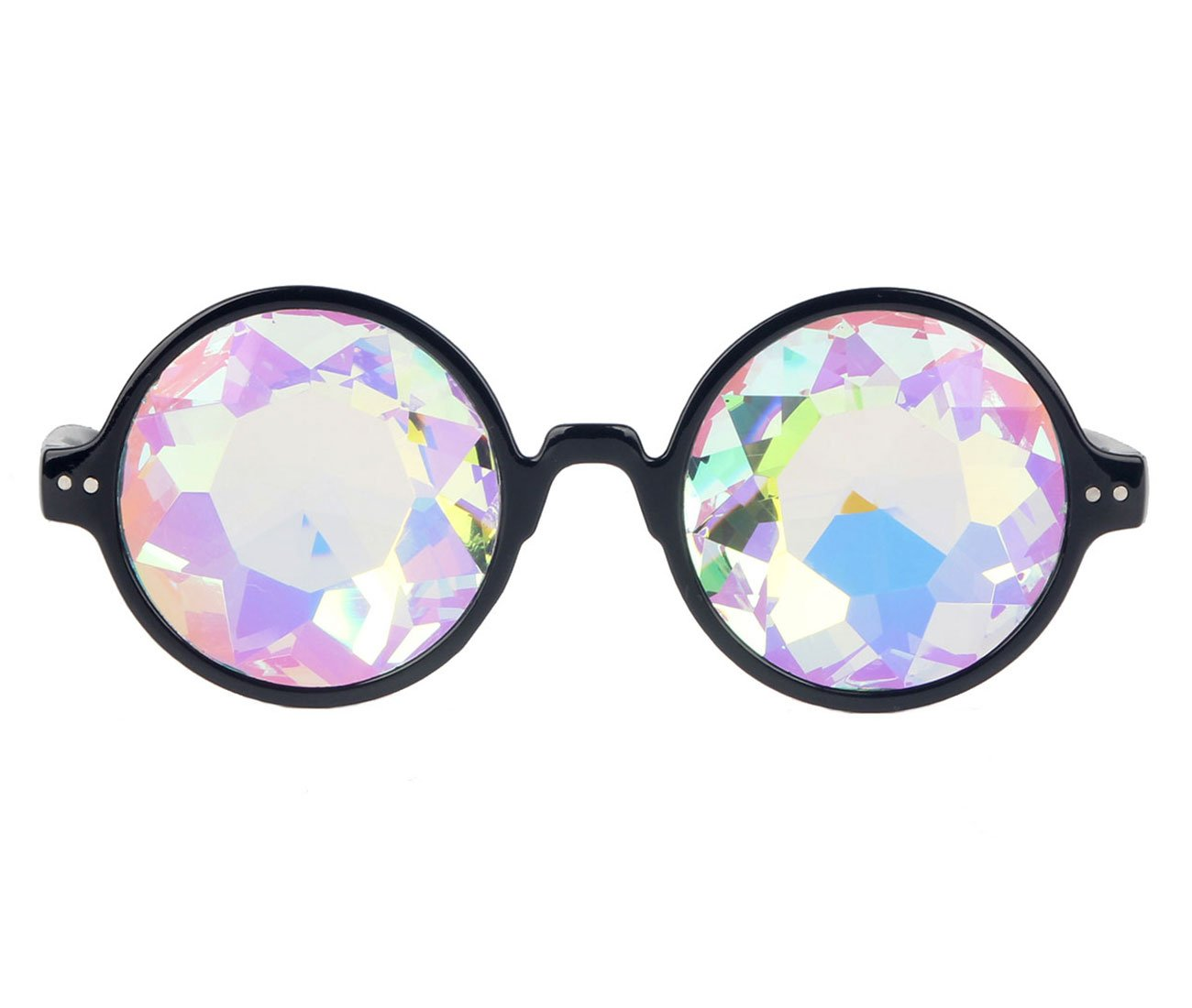 Amazon Prime Deals,Black/Pink/White Black Kaleidoscope Glasses- Rainbow Rave Prism Diffraction by Careonline (Image #2)