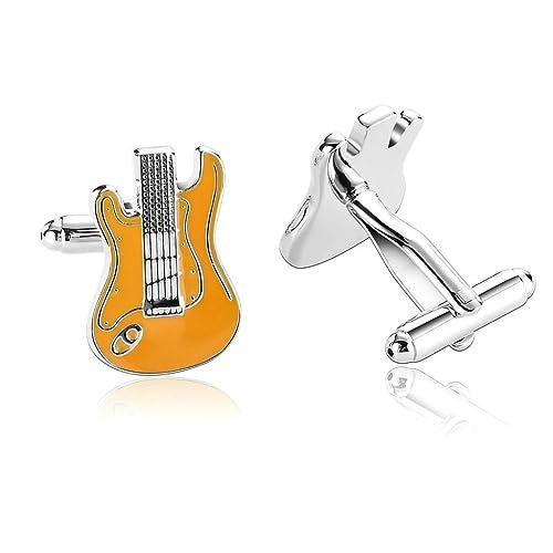 Daesar 2 Piezas Gemelos Hombre Rodio Plateado Naranja Musical Instrumentos Serie Guitarra Eléctrica Camisa Alianzas de Boda: Amazon.es: Joyería