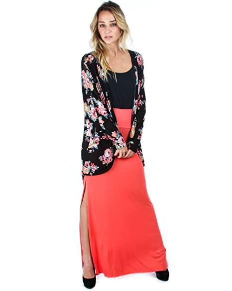 acf0968b251 Lyss Loo Plus Size Maxi Skirt With Side Slit at Amazon Women s Clothing  store