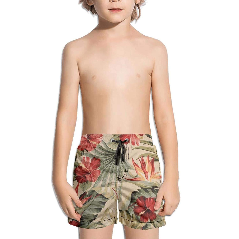Etstk Hawaiian with Tropical Plants Flowers Kids Comfortable Beach Shorts for Schoolboys