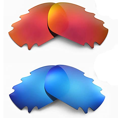 7eec98ade7 Image Unavailable. Image not available for. Color  Walleva Polarized Fire  Red+Ice Blue Replacement Vented Lenses for Oakley Jawbone