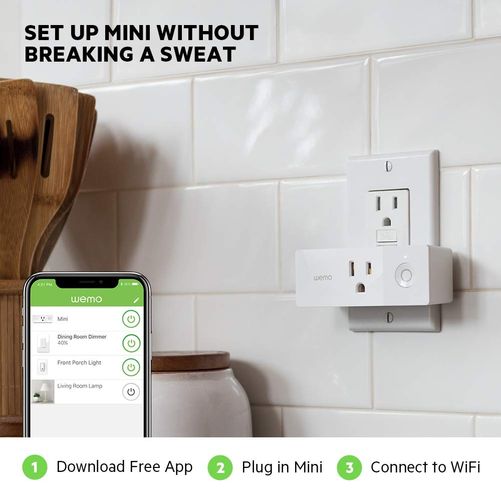 Wemo Mini Smart Plug (2-Pack), Wi-Fi Enabled, Works with Amazon Alexa (F7C063-RM2) (Certified Refurbished) by WeMo (Image #4)