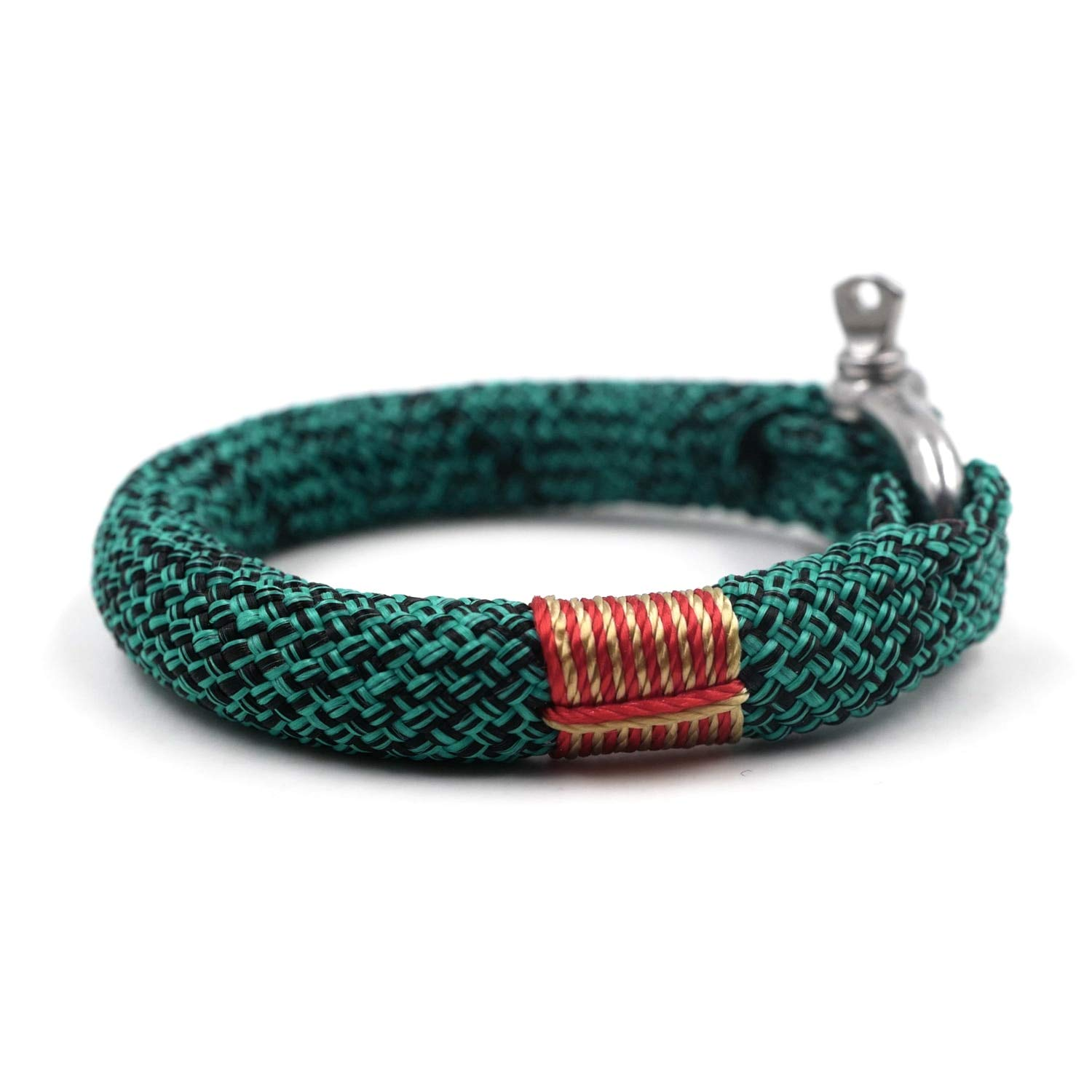TTHER Rope Nautical Mirror - Black Green BRTN523 Unisex Nautical Braided Bracelet Hand-Made Yachting Rope Military Paracord Bracelet Wristband D-Shackle by TTHER