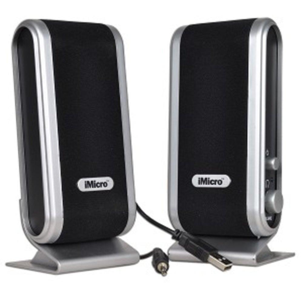 iMicro SP-IMD168B 2-Piece 2 Channel USB Powered Multimedia Speaker Set w/Headphone Jack (Black/Silver) consumer electronics Electronics