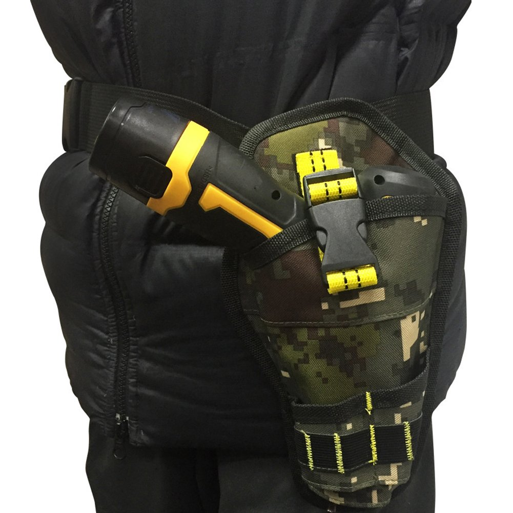 1680D Oxford Cloth Camouflage Drill Holster Multi-functional Waterproof Impact Driver Drill Waist Belt Pouch Bag with Free Adjustable Belt for Wrench, Hammer, Screwdriver YB10