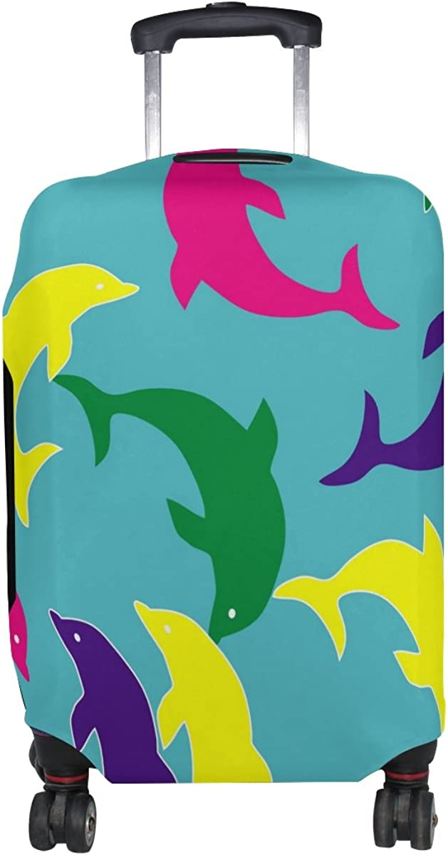 LAVOVO Colorful Dolphin Luggage Cover Suitcase Protector Carry On Covers