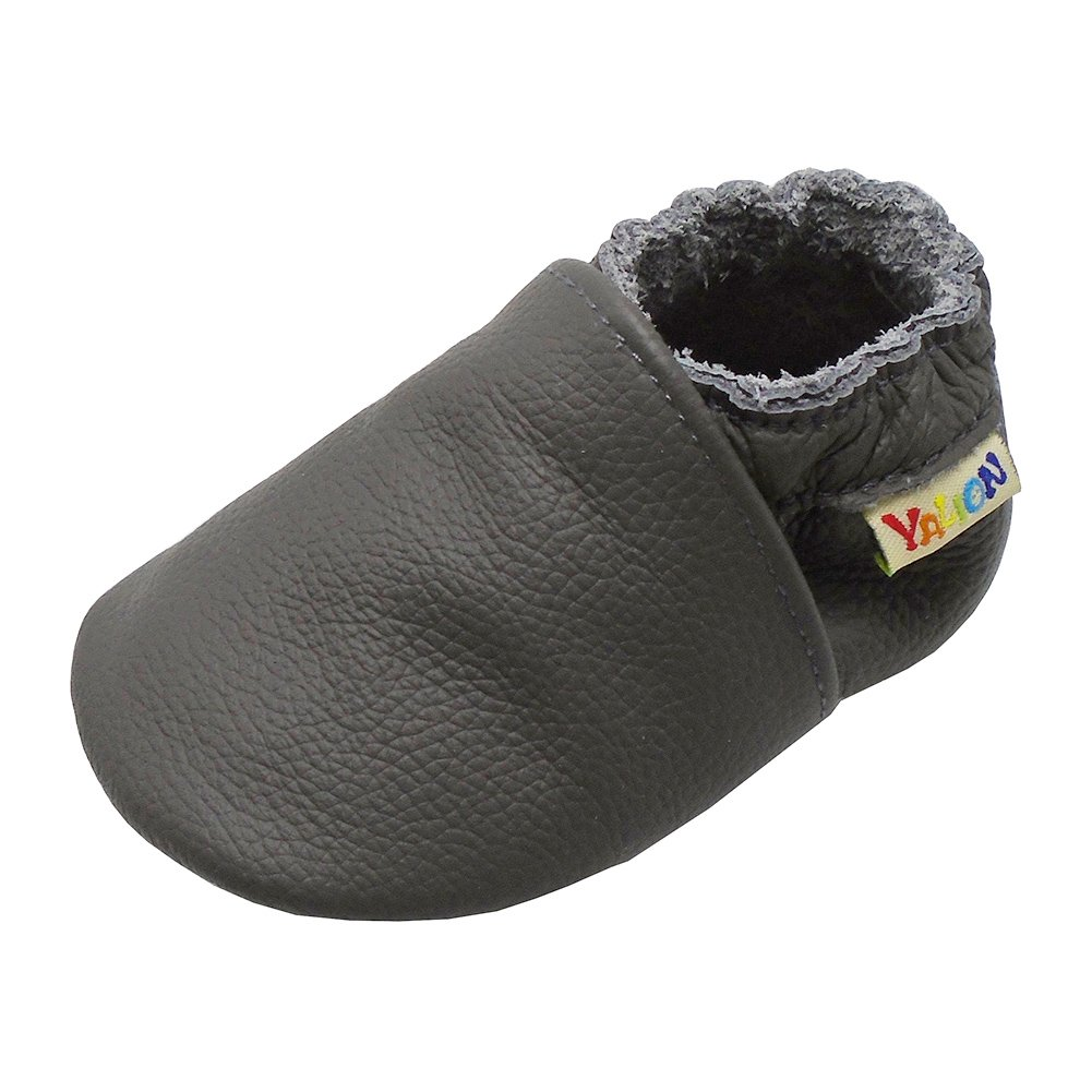 Yalion Baby Boys Girls Shoes Crawling Slipper Toddler Infant Soft Leather First Walking Moccs(Grey,6-12 Months) by Yalion