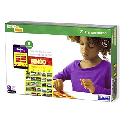 Stages Learning Materials Link4fun Real Photo Transportation Bingo for Family, Preschool, Kindergarten, Elementary Education: 36 Picture Cards + App
