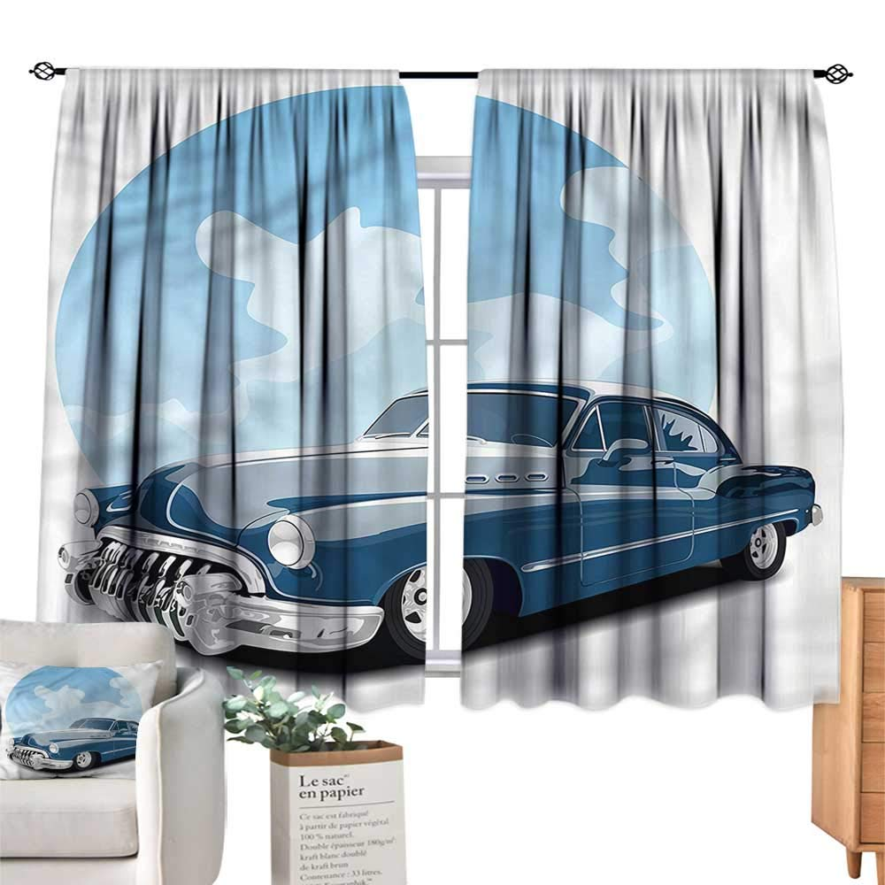 color02 55 Wx72 L WinfreyDecor Cars Insulated Sunshade Curtain Play Time Kids Doodle for Living, Dining, Bedroom (Pair) 55  Wx63 L