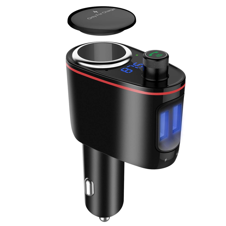 Kitbeez FM Transmitter Bluetooth, Cigarette Lighter Socket Dual USB Car Charger 3 in 1, Bluetooth Car Adapter Wireless Audio Radio Receiver Music Tuner Modulator Car Kit Mic, Hands Free Talking