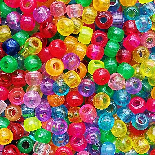Transparent Multicolor Mix Plastic Pony Beads 6x9mm, 1000 Beads Bulk ()