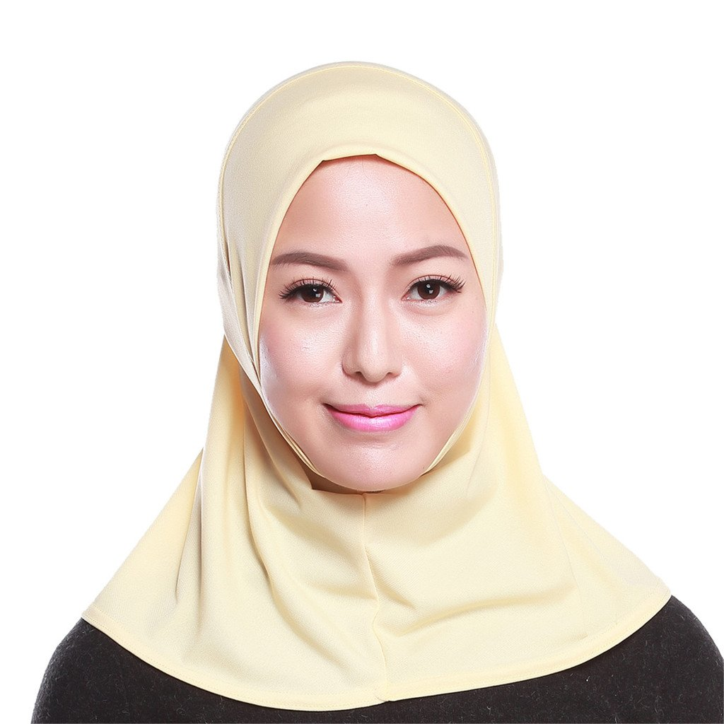 GladThink Womens Muslim Mini Hijab Scarf With More colors White MSL-GT-HS103-WHITE