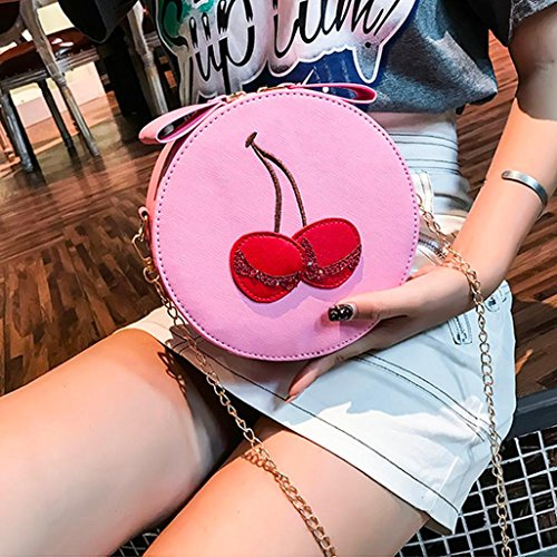 Handbags Backpacks Anti Print Ladies Cherry Purses Theft Crossbody Bags Shoulder Purse Satchel Bag Clutches Pink Women Messenger Girl Tote Strap Bags Vintage VEMOW Round rtwqZr4