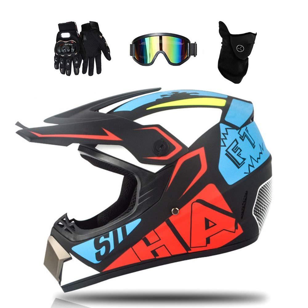 D.O.T Certificazione MRDEAR Casco da Motocross Set Inclusi Occhiali Maschera Guanti Adulto Bambino Caschi Moto Cross Downhill off-Road Enduro Motard MTB Quad Scooter