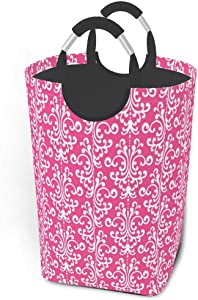 Collapsible Laundry Baskets Pink Magenta Floral Pattern Damask Large Dirty Laundry Hamper Colapsable Collaspable Calaspable Fold Dorm Fabric Laundry Basket For Baby Girl Kids Sock Clothes Camp Travel