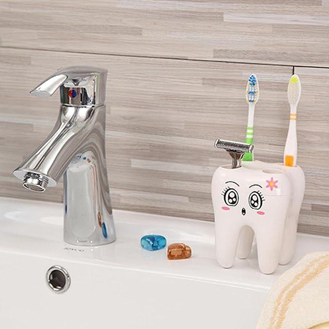 Razor Holder Sencillo Vida Porta Cepillo de Dientes Accesorios de Ba/ño Lovely Cartoon Tooth Shape Toothbrush Holder