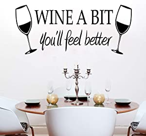 """Wine a Bit You'll Feel Better Quote Letter Wall Sticker Vinyl Wall Decals Home Arts Removable Kitchen Dining Room Wall Decal Vinyl Home Décor (Black,22""""x9.4"""")"""