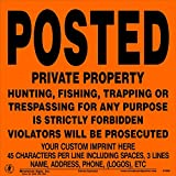 25 Count Aluminum Posted Private Property Signs with Your Custom Information Added (Orange)