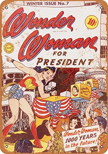 Wall-Color 7 x 10 Metal Sign - Wonder Woman for President - Vintage Look ()