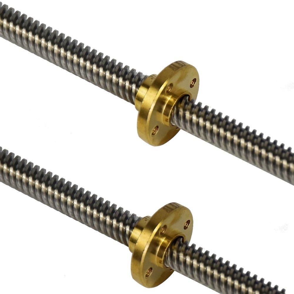2pcs 3D Printer Lead Screw Rod Z Axis Copper Nut Linear Rail Bar