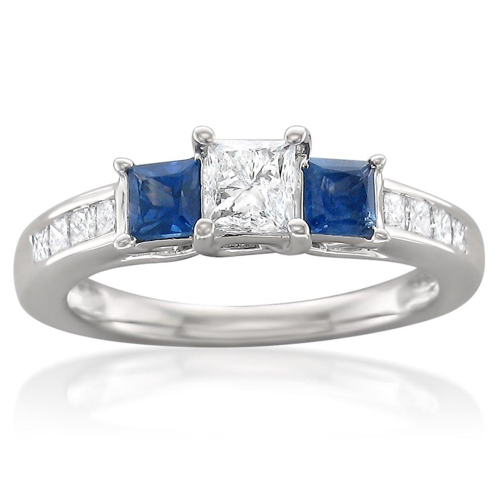 14k White Gold Princess-cut Three-Stone Diamond & Blue Sapphire Engagement Ring (1 1/7 cttw, I-J, I1-I2), Size 7.5