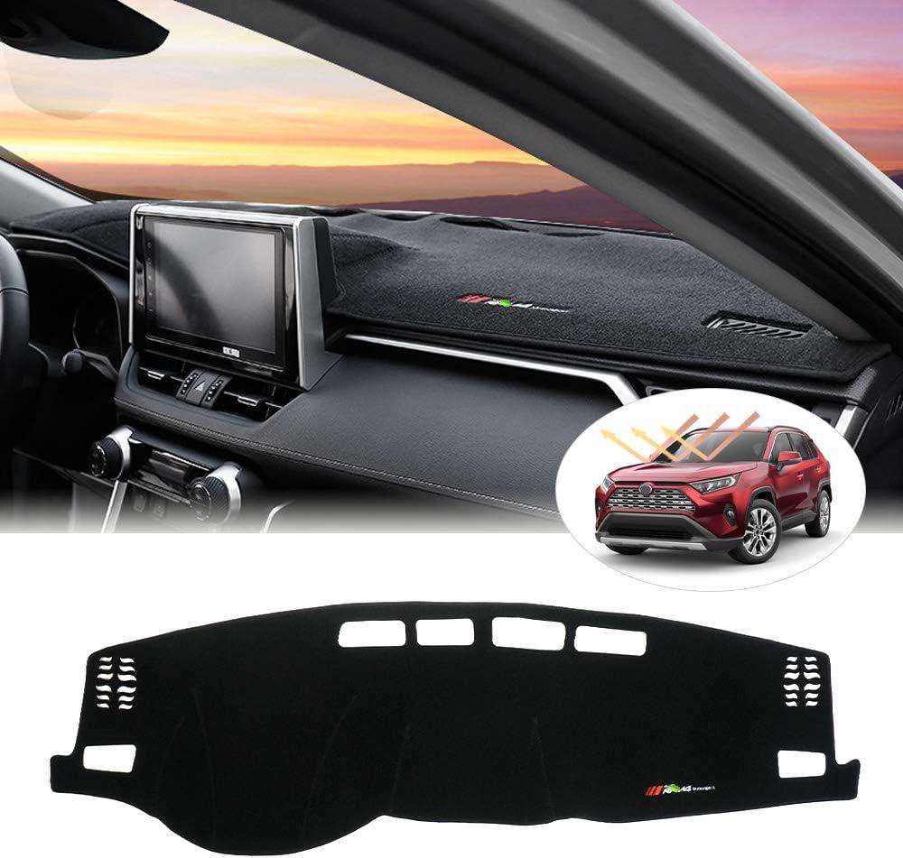Powerty RAV4 Dashboard Cover Mat Anti-Slip Dash Mat Carpet Customize Fit Sunshield Protector for Toyota RAV4 RAV 4 2019 2020 Black